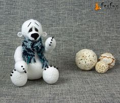 Crochet polar bear amigurumi bear crochet teddy by FerFoxDesign