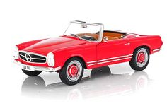 Whitebox 1:24 Mercedes Benz 230 SL Diecast Model Car WHI124002 This Mercedes Benz 230 SL Convertible (1965) Diecast Model Car is Red and features working wheels and also opening bonnet with engine, boot, doors. It is made by Whitebox and is 1:24 scale (approx. 17cm / 6.7in long). Great model of this classic Merc which is fully opening (unusual at this scale) and features tan interior and colour-coded hub caps. #Whitebox #ModelCar #MercedesBenz Mercedes Benz Models, Hub Caps, Diecast Model Cars, Scale Models, Convertible, Engineering, Wheels, Colour, Doors