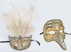 SET-of-VENETIAN-half-MASK-men-women-masquerade-feather-renaissance-fair-Male-NEW