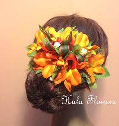 Hawaii Silk Orange Orchid Hair Clip For Hawaiian Hula Dancer, Wedding, Beach Party Hair Accessories, Gift Idea, Hand Made Silk Flowers.