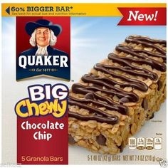 Quaker Oatmeal Chewy Granola Cereal Breakfast Bars Whole Grains ...