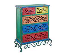 Cómoda con 5 cajones en madera de pino - multicolor