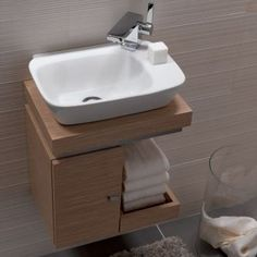 small sink bathroom cabinet tiny house Vello Handrinse Basin with Light Oak Vanity Unit Small Bathroom Sinks, Bathroom Vanity Units, Tiny Bathrooms, Tiny House Bathroom, Bathroom Toilets, Bathroom Design Small, Bathroom Furniture, Attic Bathroom, Bathroom Vanities