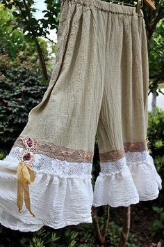 Romantic Rustic Gauze Bloomers Fluffy Ruffles with mauve ribbon.
