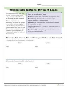introducing a topic opinion writing opinion writing  how to write an introduction worksheet activity different leads practice writing different leads