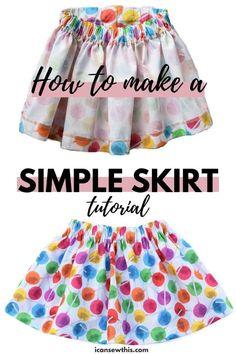 Girls Skirt Patterns, Toddler Sewing Patterns, Skirt Patterns Sewing, Dress Sewing Tutorials, Sewing Basics, Clothing Patterns, Skirt Pattern Free, Baby Shoes Pattern, Toddler Skirt