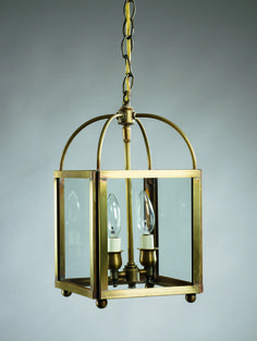 Square Corners Hanging Antique Brass 2 Candelabra Sockets Clear Glass : JLD7K | Lighting Gallery