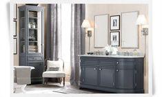 Bathroom--charcoal vanity and storage #smallwoodcrafts