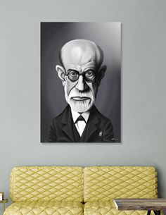 Discover «Sigmund Freud», Numbered Edition Acrylic Glass Print by Rob Snow  art | decor | wall art | inspiration | caricatures | home decor | idea