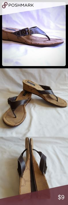 """Chaps Brown Wedge Sandal Cute Chaps lightweight brown flip flop like sandal with 2"""" wedge and signature camel colored heel and insole.  Size 8 - 9  Good used condition. Smoke free and pet free home. Chaps Shoes Sandals"""