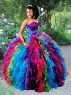 Multi-color Ruffles Beading and Ruching Quinceanera Dress 2014 Spring Quinceanera Dresses,gowns
