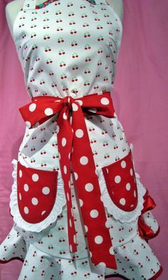 cherry apron with red polka dots(not really feeling the pockets)