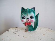 Vintage cat figurine red bow tie mottled by MattiesMenagerie