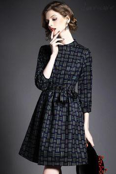 Doresuwe.com SUPPLIES ヨーロッパ2015秋新レディースファッション 気質セレブ七分Aーラインワンピース  デートワンピース (12)