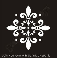 Large Painting Stencils for Walls Stencil Fleur de lis decorative 4 Tile design Wall Art - New and Used Damask Stencil, Stencil Patterns, Stencil Designs, Wall Art Designs, Stencil Painting, Large Painting, Wall Stenciling, Tile Design, Pattern Design