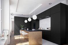 cuisine-blanc-et-noir-credence-marbre-blanc-ilot-bois-noir-parquet-chevron