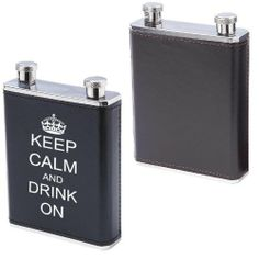 """10oz Stainless Steel Dual Compartment Flask with Black & Brown Wrap Keep Calm and Drink On by TS Flasks. $14.99. 10oz Stainless Steel Flask with Black on one side and Brown Wrap on the opposite. Features dual 5oz compartments for containing 2 different types of liquor; polished finish on top and bottom; and faux leather wrap. Measures 3-7/8"""" x 5-1/2"""" x 1-1/8"""".. Keep Calm and Drink On. 10oz Stainless Steel Flask with Black on one side and Brown Wrap on the opposite. Feat..."""