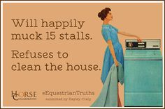 Or haul hay...or pick hooves...or brush down the muddy horse in the spring...yet I hate cleaning my apartment ha
