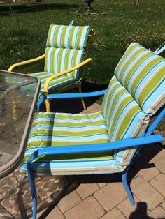 fun patio chairs...free from the neighbor, new paint and $12 cushions from Aldi Patio Chairs, Outdoor Chairs, Outdoor Furniture, Outdoor Decor, The Neighbor, Reuse, Repurposed, Recycling, Cushions
