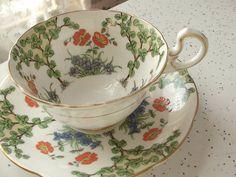 Antique Aynsley tea cup set, vintage hand painted English tea cup and saucer, bone china tea set via Etsy