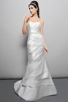Mermaid Sweetheart Ruched Bodice Beaded Waistband Satin Wedding Dress-wm0038, $214.95