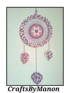 Pink/purple/white dreamcatcher made of perler/hama beads - CraftsByManon