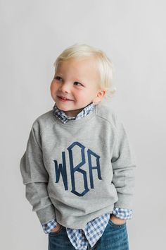 Monogram Pullover, Monogram Shirts, Dad To Be Shirts, Kids Shirts, Baby Boy Outfits, Kids Outfits, Toddler Outfits, Toddler Girls, Fall Outfits