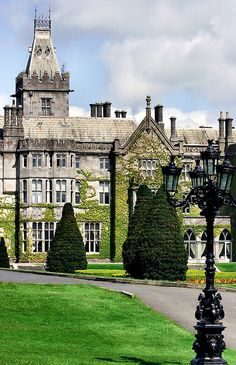 Adare Manor. A 19th century house and former seat of the Earl of Dunraven and Mount Earl.  Located on the banks of the River Maigue in the village of Adare, County Limerick, IRELAND.
