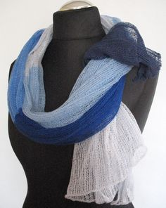 Linen Scarf Shawl Wrap Stole azure cornflower blue  by Initasworks, $78.00