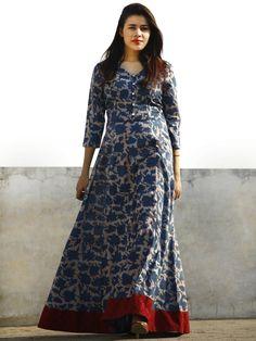 Cotton long dress - Nazmin Hand Block Printed Long Cotton Dress With Back Knots Cotton Gowns, Cotton Long Dress, Long Cotton Kurti, Long Frock, Long Dress Design, Dress Neck Designs, Blouse Designs, Indian Designer Outfits, Designer Dresses