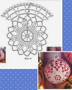 Crochet lace ornament pattern in Italian, but with diagram. Crochet Christmas Decorations, Crochet Decoration, Christmas Crochet Patterns, Crochet Ornaments, Crochet Snowflakes, Christmas Baubles, Christmas Crafts, Crochet Stone, Crochet Ball