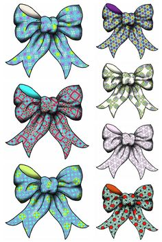 artbyjean clipart bows collage sheet | Collage Sheets - Three large and four small multicolor ribbon bows ...