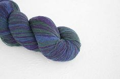 Knitting art wool  blue purple colors Longstriped artistic