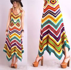 Handmade Crochet Vintage Crochet Chevron Rainbow Asymm Hippie Maxi Dress- Made to Order Moda Crochet, Pull Crochet, Diy Crochet, Chevron Crochet, Rainbow Crochet, Chevron Dress, Crochet Patterns, Crochet Edgings, Crochet Tunic