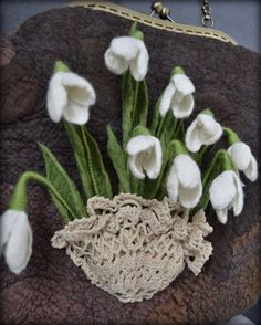 Snowdrops felted bag, spring, felted bag,wool bag, art to wear, necklace, accessories, women's bag, women's necklace,snodrops, wool bag Nuno Felting, Black Felt, Red Poppies, Felt Flowers, Bag Making, Wool Felt, Gifts For Her, Crochet Earrings, Lily