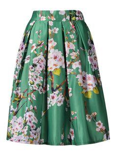 Choies Women's Black/Green/White/Blue Sakura Skater Skirt With Pleat at Amazon Women's Clothing store: