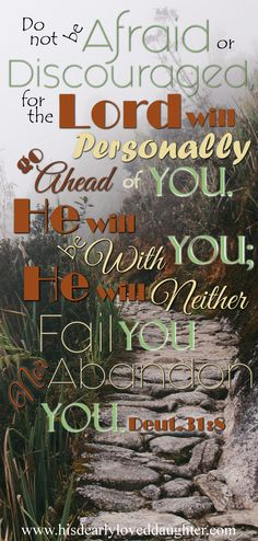 Do not be afraid or discouraged for the Lord will personally go ahead of you. He will be with you; He will neither fail you nor abandon you. Deuteronomy 31:8 Verses, Bible Verse, Scripture, God's Word, Truth, Sword of the Spirit, Christian Quotes, Encouraging, Hope, Wisdom