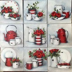 Rooi Decoupage Vintage, Decoupage Paper, Diy And Crafts, Arts And Crafts, Paper Crafts, Tea Art, Still Life Art, Painting Lessons, Kitchen Art