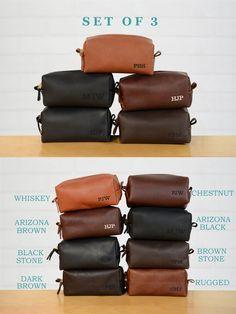 Groomsmen Gift SET of 3 Personalized Leather Dopp Kit  a60837778e7dd