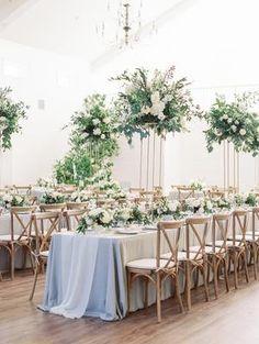 The Grandeur House Wedding with a Modern Farmhouse Style Fall Wedding Centerpieces, Flower Centerpieces, Flower Decorations, Wedding Decorations, Table Decorations, Tall Centerpiece, Wedding Tables, Centerpiece Ideas, Purple Bouquets