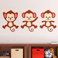 Vinilos Infantiles: Kit 3 monos. Vinilo decorativo infantil en kit. #vinilosdecorativos #decoracion #patrones #mosaico #monos #teleadhesivo