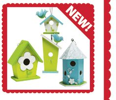 DIY birdhouses for centerpiece of tables for garden baby shower.