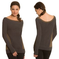The Side Panel Sweatshirt -  Most sweatshirts hug the neck and the hips, but billow out in the middle. But our Side Panel Sweatshirt features flattering details from top to bottom: beloved bateau neckline, curved stitching to accentuate your waist, and a cool silhouette. #WorkoutTop #ActiveWear #YogaClothes http://www.nancyroseperformance.com/side-panel-sweatshirt