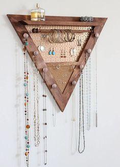 Perfect Jewelry Organizer Wall Mounted Ideas Triangle Jewelry Organizer Wooden Wall Hanging Jewelry Etsy with regard to [keyword Diy Jewelry Holder, Hanging Jewelry Organizer, Jewelry Hanger, Jewelry Wall Organizers, Jewelry Box, Wooden Organizer, Jewelry Crafts, Jewelry Armoire, Wand Organizer