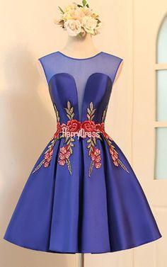 Knee Length Blue A Line V Neckline Cap Sleeve Ruched Appliques Satin Short Homecoming Dress