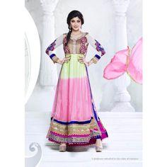 Shilpa Shetty Light Pink Net Anarkali Suits