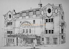 """A Drawing of the Dewsbury Empire by Ivor Westwood, produced for the Dewsbury Arts Group in 1977 in connection with a specially devised show performed by the Group in February 1978 called """"Remember the Empire"""" - Courtesy Ivor Westwood and the Dewsbury Arts Group."""