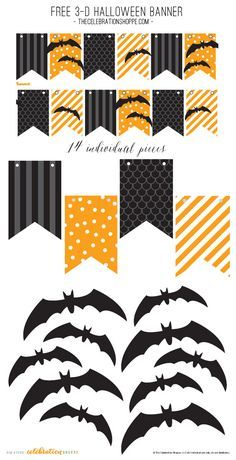 Black & Orange Halloween Banner With 3-D Bats – Free Party Printable | Kim Byers, http://TheCelebrationShoppe.com #freeprintable #Halloween