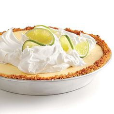 Healthier Key Lime Pie/ Amount per serving Calories: 280 Fat: 8.9g Saturated fat: 3.6g Monounsaturated fat: 3.4g Polyunsaturated fat: 1.3g Protein: 6.6g Carbohydrate: 43.2g Fiber: 0.4g Cholesterol: 84mg Iron: 0.6mg Sodium: 147mg Calcium: 144mg
