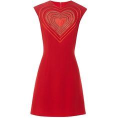 Christopher Kane Love Heart crepe mini dress ($1,336) ❤ liked on Polyvore featuring dresses, heart dress, mini dress, short dresses, graphic print dress and red heart dress